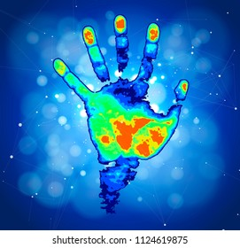 The concept of digital identification and recognition technologies - color thermal hand print, blue technology background, digital wave, points, lines, triangles & low poly mesh elements / vector draw