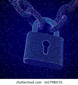 The concept of digital security and data protection: a closed padlock on the chain on digital background. Secure storage of personal data. Security of business operations. EPS 10, vector illustration.