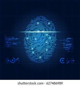 concept of digital security, electronic fingerprint on scanning screen