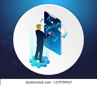 Concept of digital technology. Businessman, icons. 3d isometric flat design. Vector illustration.