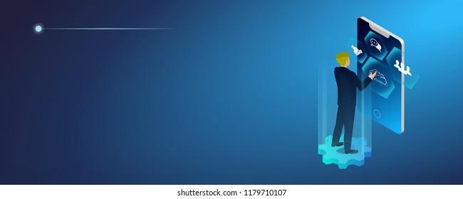 Concept of digital technology. Businessman, icons. 3d isometric flat design. Vector illustration.