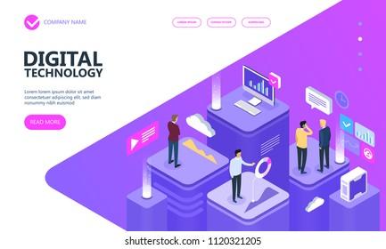 Concept of digital technology. Businessmans, desktop, graphs, statistics, icons. 3d isometric flat design. Vector illustration.