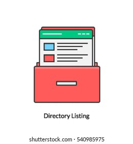 A concept of directory listing, Web directory icon, Information listed in web directories isolated on white background
