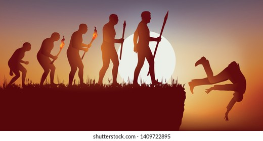 Concept of the disappearance of the human species with the symbol of Darwin showing the evolution of the man ending in a dead end and a fall into the void.