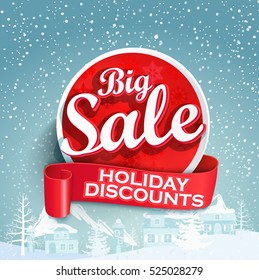 Concept of discount. Sale design on a winter background. Eps10. Vector.