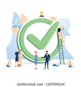 Concept done job, checklist for web page, banner, presentation and social media documents or cards, posters. Vector illustration. Accept business symbol with check. Work management and stack resolve