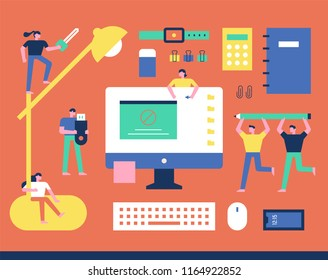 Concept of Downsizing Characters wandering around books with office supplies. flat design style vector graphic illustration set