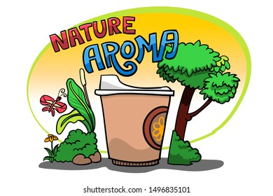 Concept drawing digital art of Coffee cup. decoration as aroma of coffee smell with custom text in nature. editable layers vector by hand drawing.