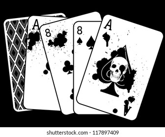 Concept Drawing of 'The Dead Man's Hand,' a Pair of Aces and Eight