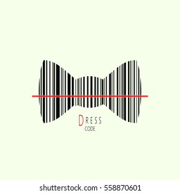 Concept of dress code.Vector illustration of black bow-tie with barcode.