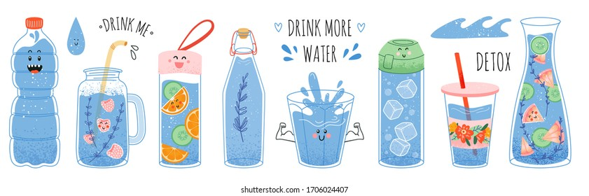 Concept drink more water, drinking water in a thermos and plastic mug, glass bottle. Vector set of various bottles, glass, flask in hand drawn style, correct daily habits, morning rituals. Zero waste