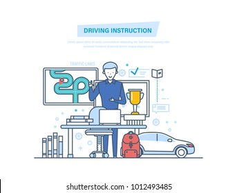 Concept of driving instruction by car. Driving school or learning to drive, education. Teacher instuctor in classroom. Teacher explains the rules of road on the board. Illustration thin line design.