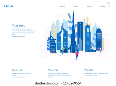 Concept Dubai skyline for web page, banner, presentation, social media, documents, cards, posters. Vector illustration Business travel and tourism