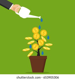 The concept of earnings, success in work, money. Vector illustration. The hand of a businessman who pours a money tree.