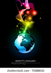 Concept Earth Planet Design for Technology Futuristic Poster or Flyers