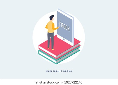 Concept of e-books. Image of man standing on books in front of screen of mobile tablet. Flat vector style.