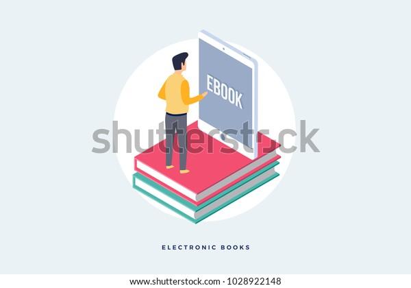 e-bookのコンセプト。モバイルタブレットの画面の前に本の上に立つ男性の画像。フラットベクター画像スタイル。