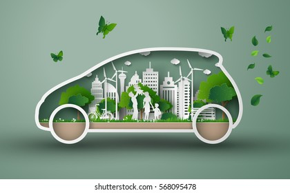 concept of eco car with family and nature in the city.paper art and  digital craft style.