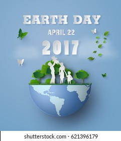concept of eco and earth day with family.paper art and  digital craft style.