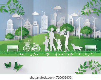 concept of eco with family.paper art and  digital craft style