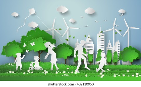 concept of eco with family.paper art style.