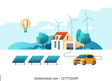 Concept of eco friendly alternative energy. House with solar panel and wind turbines. Vector illustration.