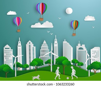 Concept of eco friendly save the world and environment,paper art scene background with urban city green energy nature landscape,vector illustration