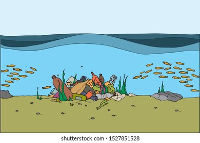 The concept of ecological catastrophe. Border with garbage on the ocean.