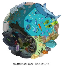 The concept of ecological catastrophe of garbage in the sea. The problems with chemical wastes disposal. Environmental disaster of plastic debris and straws in the ocean.