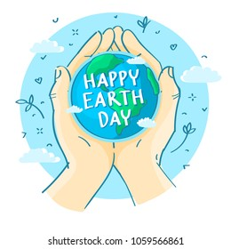 Concept of ecology. Human hands holding Earth. Happy earth day. Hand drawn vector illustration.