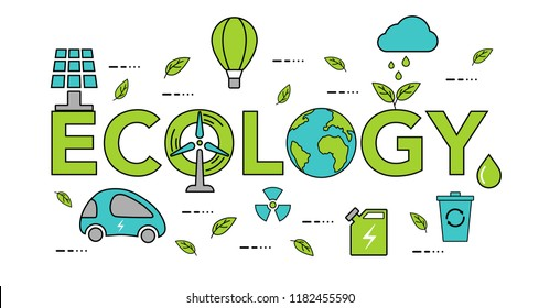 Concept of ecology problem. Modern flat line design.