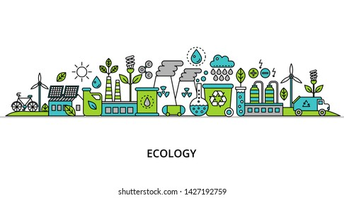 Concept of ecology problem with word and generation and saving green energy for graphic and web design, flat line vector illustration