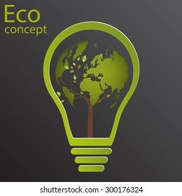 The concept of ecology, wood, world map, rising from the lamp on black background. The bulb inside the tree with the globe. Vector illustration modern design template.