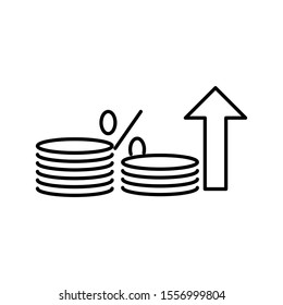 Concept of economy, inflation and financial growth. Outline thin line flat illustration. Isolated on white background.