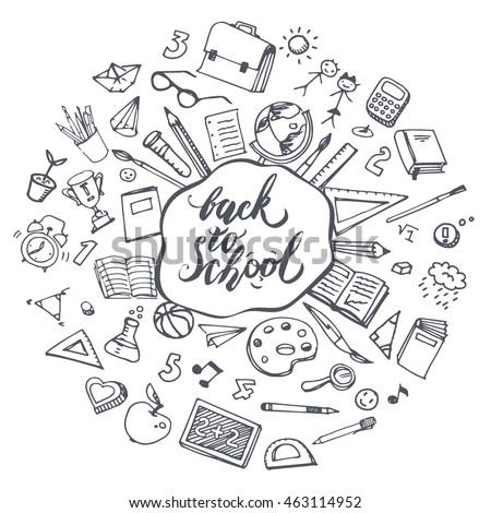 Concept Education Back School Freehand Drawing Stock-Vektorgrafik ...