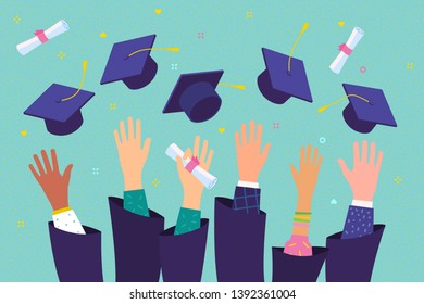 Concept of education. Graduates throwing graduation hats in the air. Flat design, vector illustration