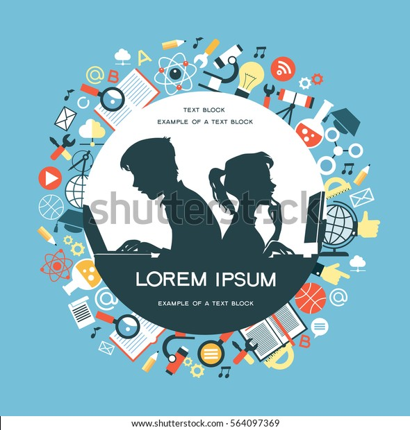 The concept of education. Icons education. Online education, Silhouettes of boy and girl  involved in the computers in an environment of education icons.
