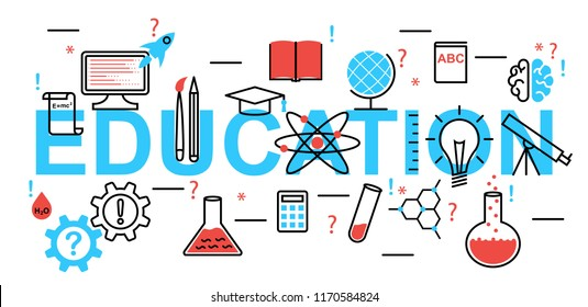 concept of education. Modern flat line design vector
