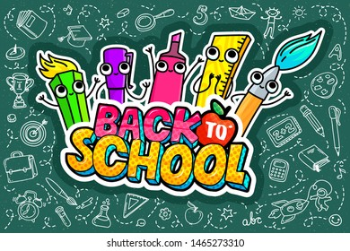 Concept of education. Sale concept. School background with hand drawn school supplies and comic speech bubble with Welcome Back to School Sale lettering in pop art style on green blackboard.