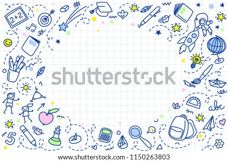 Concept Education School Background Hand Drawn Stock Vector