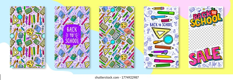 Concept of education. School background for stories or social media with hand drawn school supplies on white and lettering Back to School. Vector illustration