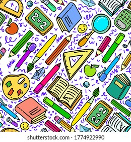 Concept of education. School seamless background with hand drawn school supplies on white. Vector illustration