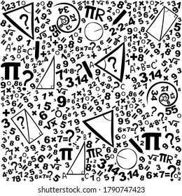 Concept of education. School seamless pattern with math formulas, calculations and figures. Background with hand written geometry formulas and geometric shapes and figures. Vector Illustration
