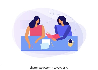 Concept of education, student learning, business training. Two young women, teacher and student are talking to each other sitting at table. Colorful flat vector illustration.