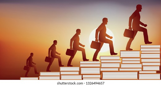 concept of education that makes knowledge grow, with a man growing up as he climbs a staircase whose steps are made of books.