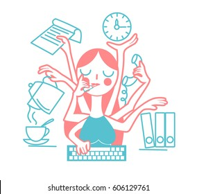 The concept of the effectiveness of a woman secretary at the office, in the form of many hands. Icon in the linear style