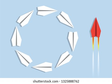 Concept of efficiency in opposition to inefficiency with a side of origami planes that turn stupidly round and on the other, a red plane that acts with intelligence.