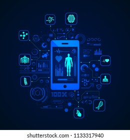 concept of e-health or telemedicine, graphic of health care application on device with medical icons