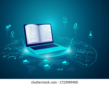 concept of e-learning technology, graphic of realistic computer notebook with book's pages as screen
