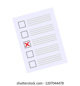 Concept of election. Voting paper, election day campaign isolated on white background. Vector stock.